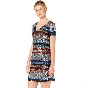 Eci rainbow stripe shift dress M
